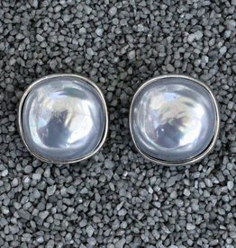 Jewelry FMontague: Pearl Button Gray w/Silver
