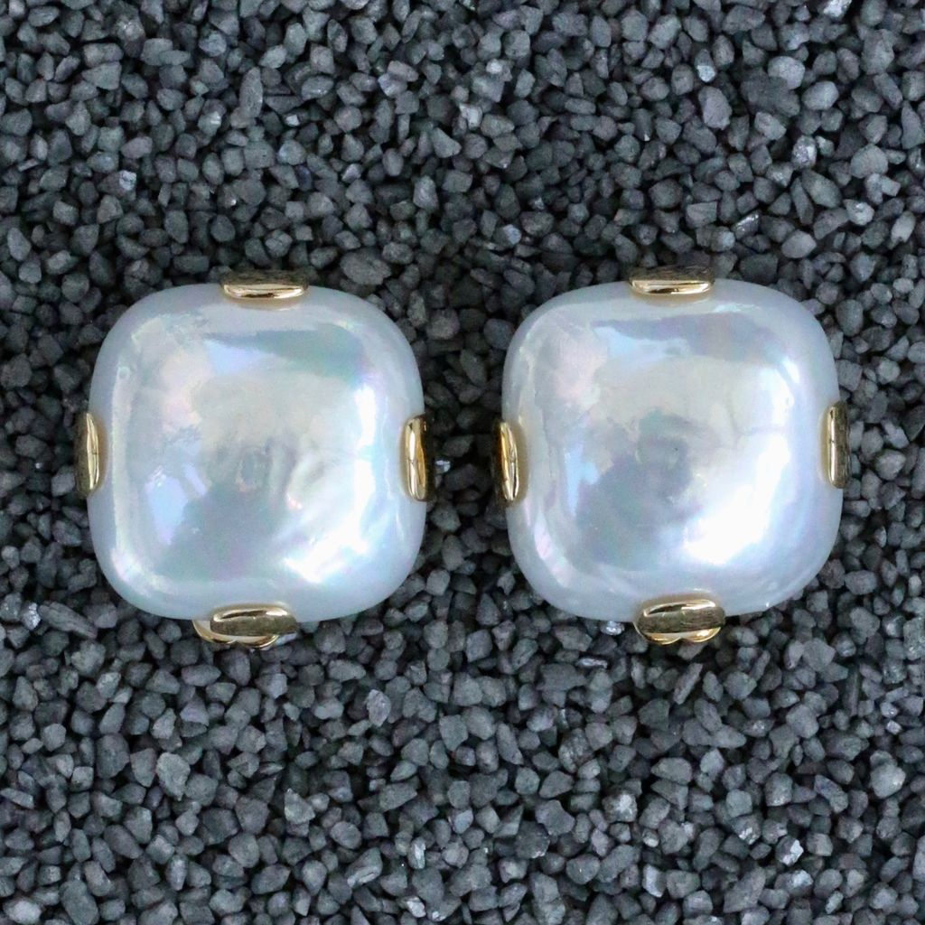 Jewelry FMontague: White Pearl Square w/gold