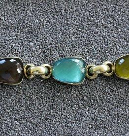 Jewelry Vaubel: Three Stone Hoop Links in Vermeil