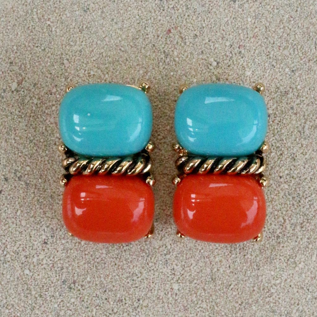 Jewelry VCExclusives: Two Piece Turquoise over Coral