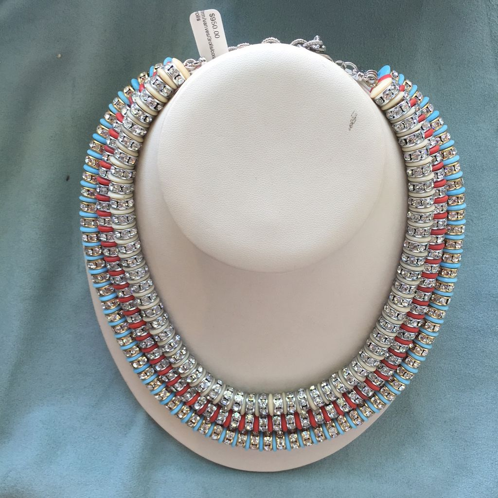 Jewelry FMontaque: Vanves Three Rolls Coral Turquoise Crystal