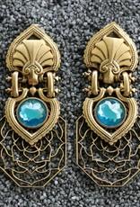 Jewelry Blinn: Lattice Gold w/Blue Inset