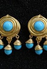 Jewelry KJLane: Swirl & Droplets Turq & Gold