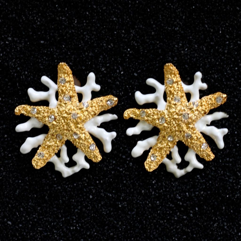 Jewelry Starfish Gold with White Branch