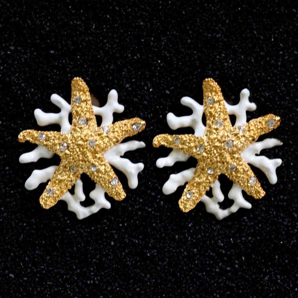 Jewelry Starfish Gold with White Branch