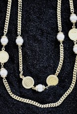 Jewelry Karin Sultan: Gold Coin and Pearl with <br /> flat Chain