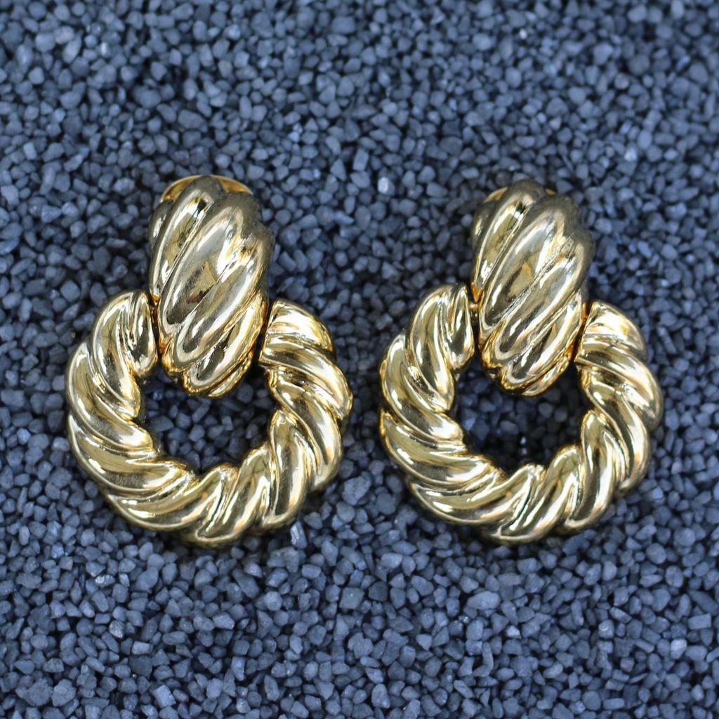 Jewelry KJLane: Door Knocker Twisted Polished Gold