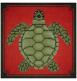 "JP Needlepoint Turtle on Orange 5""x5"""