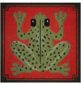 "JP Needlepoint Frog on Orange 5""x5"""
