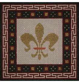 JP Needlepoint Gold Fleur w/burgundy & black border