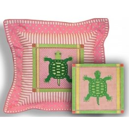 "CBK Needlepoint Turtle w/Pink and Green Border 8""x8"""