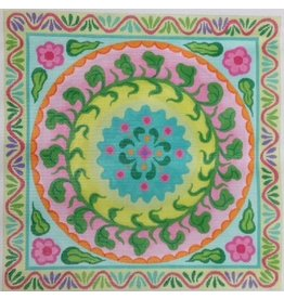 CBK Needlepoint Mexican Embroidery Style<br />Circle in a Square - 14&quot;x14&quot;