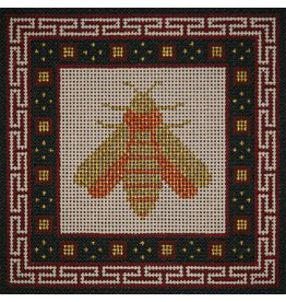 "JP Needlepoint Gold Bee w/Burgundy & black border  6""x6"""