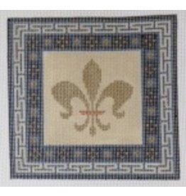 JP Needlepoint Gold Fleur w/Blue &amp; Black Border<br />6&quot;x6&quot;