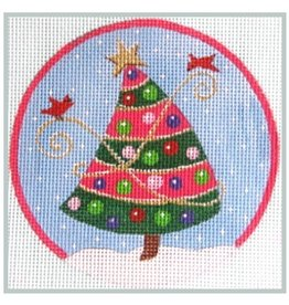 Julie Mar Pink striped tree mini stocking