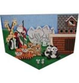 Rebecca Wood Santa with animals (in pairs) stocking topper