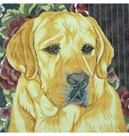 Barbara Russell Yellow Lab - floral<br />12&quot;x12&quot;