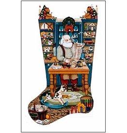 Melissa Shirley Santa at workbench stocking<br />11&quot;x21&quot;