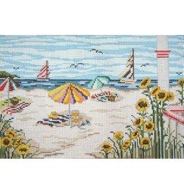 Needle Crossing Beach umbrellas &amp; sailboats<br />9&quot;x6&quot;
