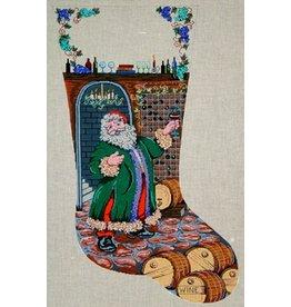 Patti Mann Santa in the wine cellar stocking