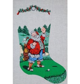 Patti Mann Santa on golf tee stocking