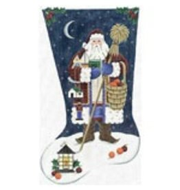 Rebecca Wood Santa on rooftop with oranges and apples