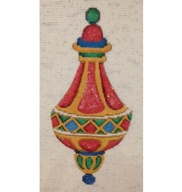 Strictly Christmas Red & Gold Ornament with Blue, Green & Red Diamond Pattern in center