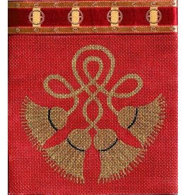 JP Needlepoint Purse - dark red w/rope & tassels