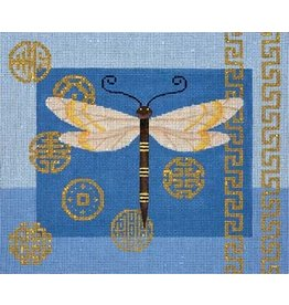 JP Needlepoint Dragonfly & Coins on Blue