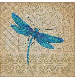 "JP Needlepoint Blue Dragonfly on patterned background   13""x13"