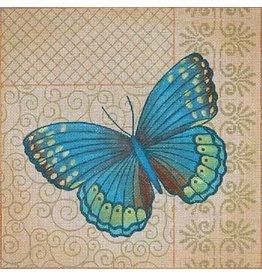 "JP Needlepoint Blue butterfly on patterned background 13""x13"