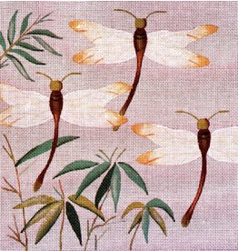JP Needlepoint Dragonflies in Bamboo<br />9x9&quot;