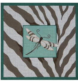 JP Needlepoint Dragon Fly with zebra background<br />