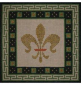 "JP Needlepoint Gold Fleur w/Green & Black border  6""x6"""