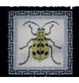 JP Needlepoint Beetle 1 - Green w/Black Spots<br />5&quot;x5&quot;