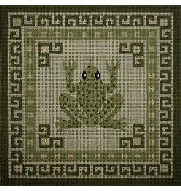 JP Needlepoint Frog w/green borders <br />