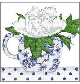 Melissa Shirley Floral Teapot - blue &amp; white<br />8&quot;x8&quot;