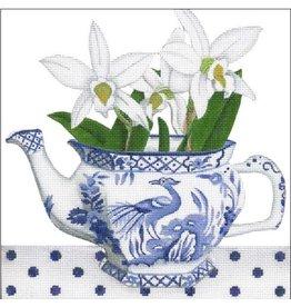 "Melissa Shirley Fauna Teapot - Blue & White 8""x8"""