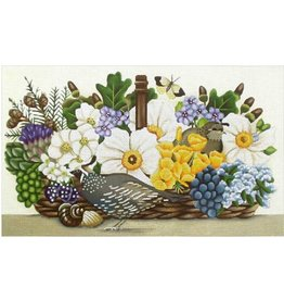 Melissa Shirley Quail Basket Bouquet<br />17&quot;x10&quot;