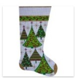 Alice Peterson Gold Christmas Tree Stocking<br />