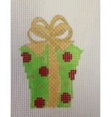All About Stitching Present w/Red Dot Ornament<br />2.75&quot;x3.5&quot;