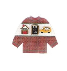 Stitch-It Specialty Button Sweather red w/school house, chalk board & bus