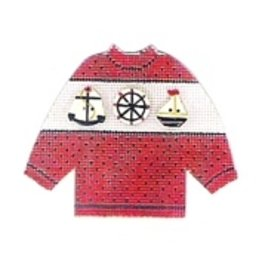 Stitch-It Specialty Button Sweater <br />red w/sailing buttons