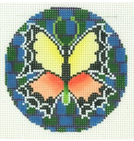 Colonial Needle Orange &amp; Yellow Butterfly<br />3&quot; round