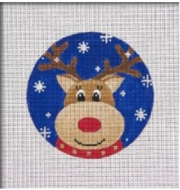 Pepperberry Design Reindeer Blue Snowflake ornament<br />