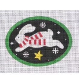 "Pepperberry Design Jumping Bunny Star - ornament 4.5"" oval"