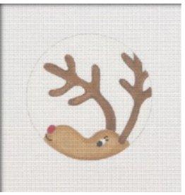 Pepperberry Design Reindeer Peeking ornament<br />4&quot; round