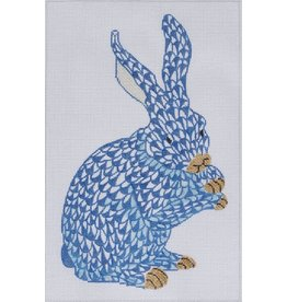 """Kate Dickerson Herend Fishnet Bunny - standing - blue<br />9"""" x 6"""""""