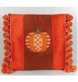 Marlene Pumpkin on Orange pillow witg Tassels - self finishing
