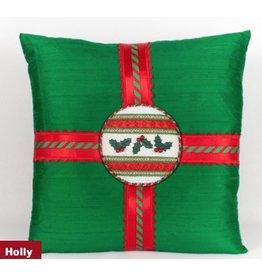 Marlene Christmas Holly on Green Pillow - self finishing